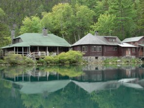 Lodges from across Sunset Pond