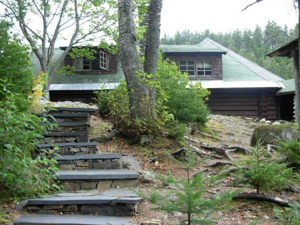 Climbing the steps to the lodge